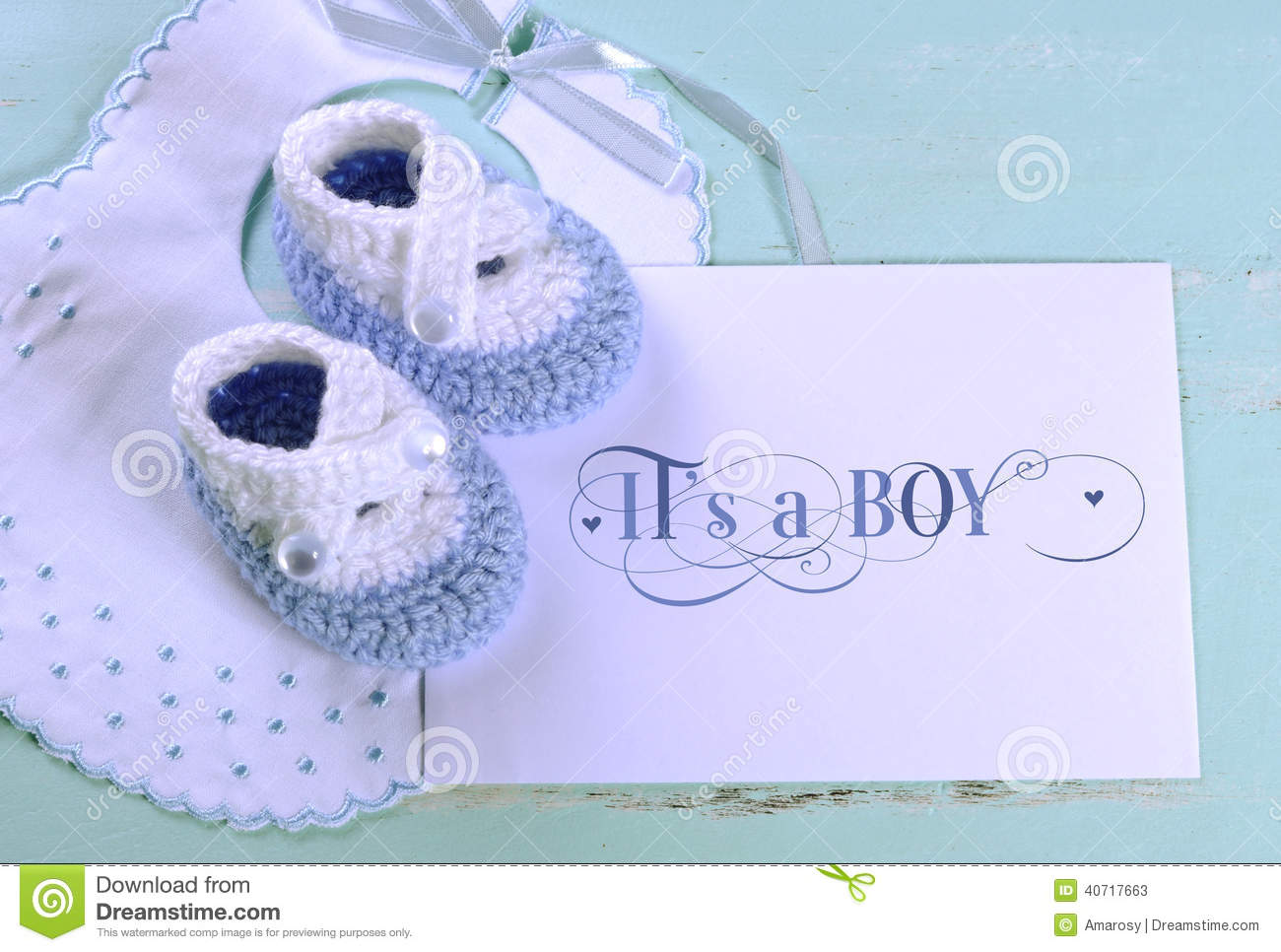 Baby Boy Nursery Blue And White Wool Booties And Card