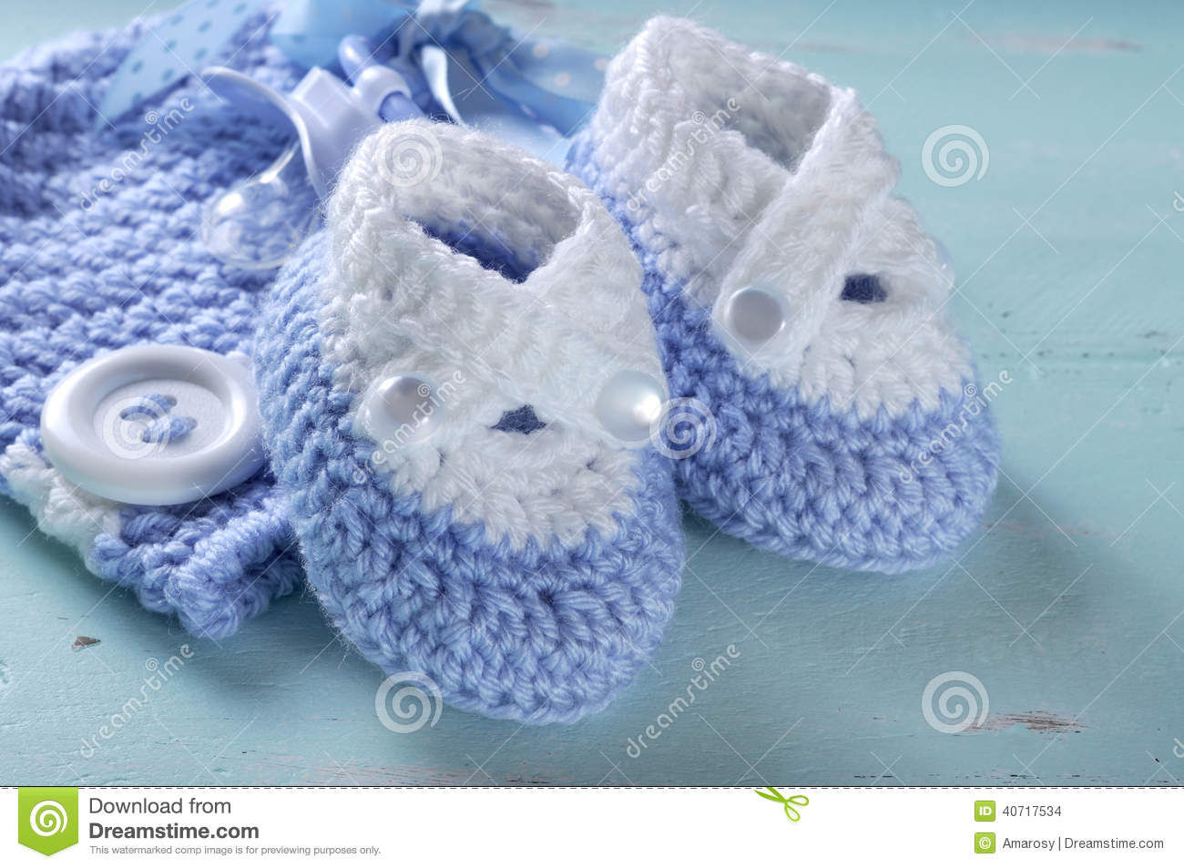 Baby Boy Nursery Blue And White Wool Booties Close Up