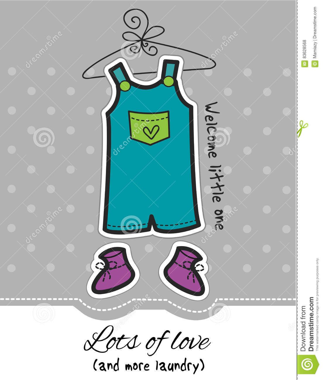 Baby boy overall and booties on dotted grey background