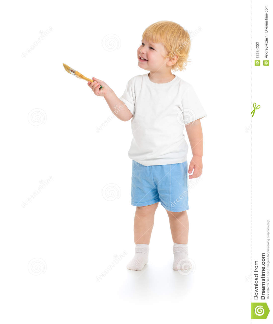 Baby boy with paint brush front view standing full length isolated on