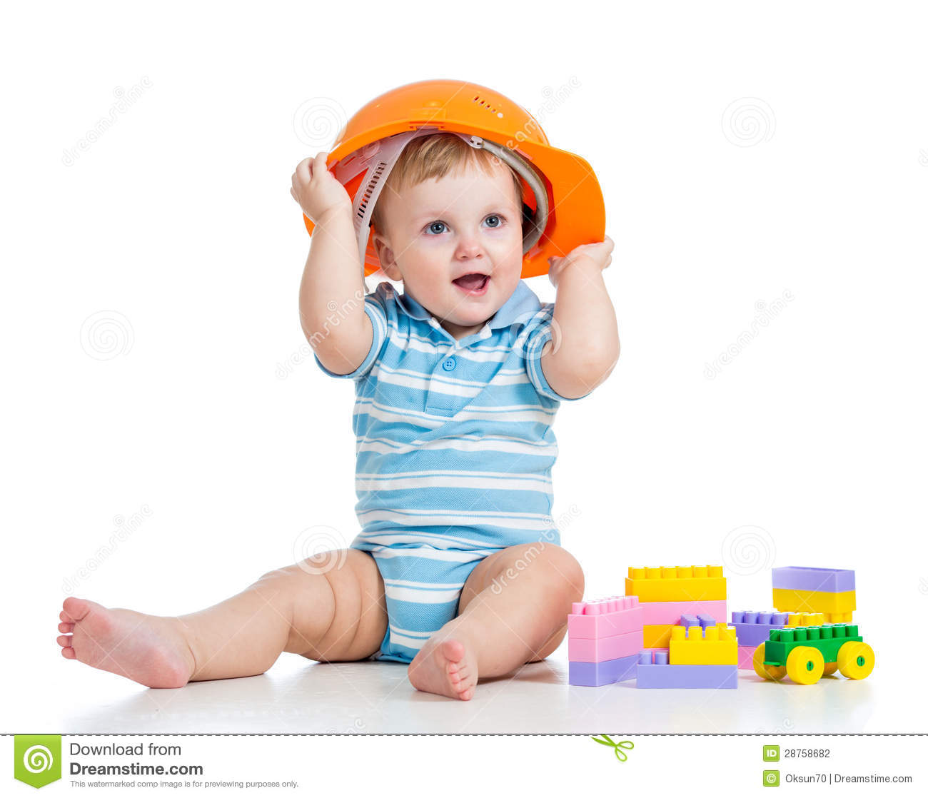 Building Toys For Babies : Baby boy playing with building blocks male models picture
