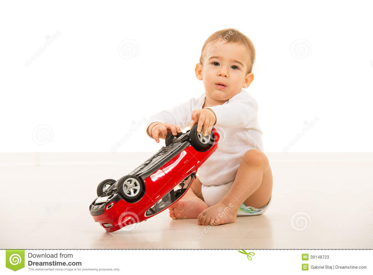 Baby Boy Playing With Car Toy Stock Image Image Of Child Smile