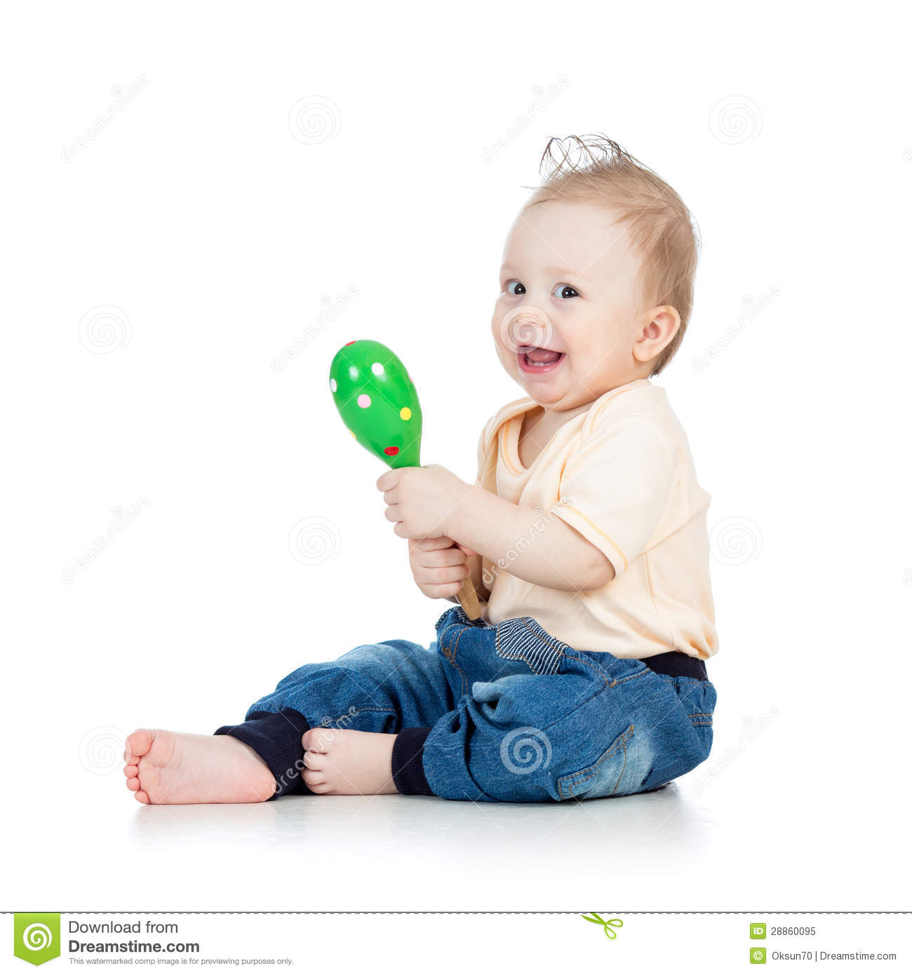 Musical Toys For Toddlers Boys : Baby boy playing with musical toys on white backgroun