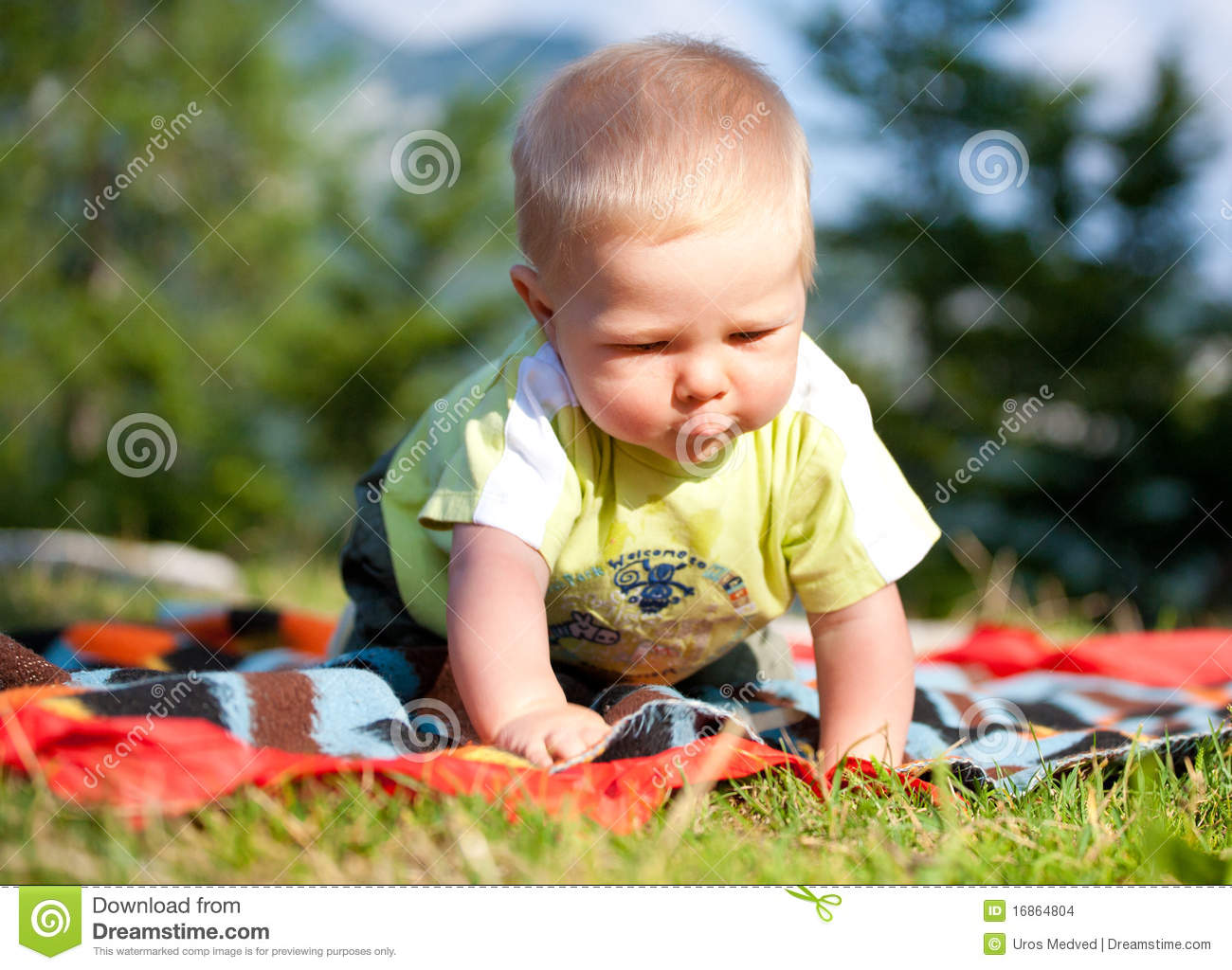 Baby boy playing outdoor