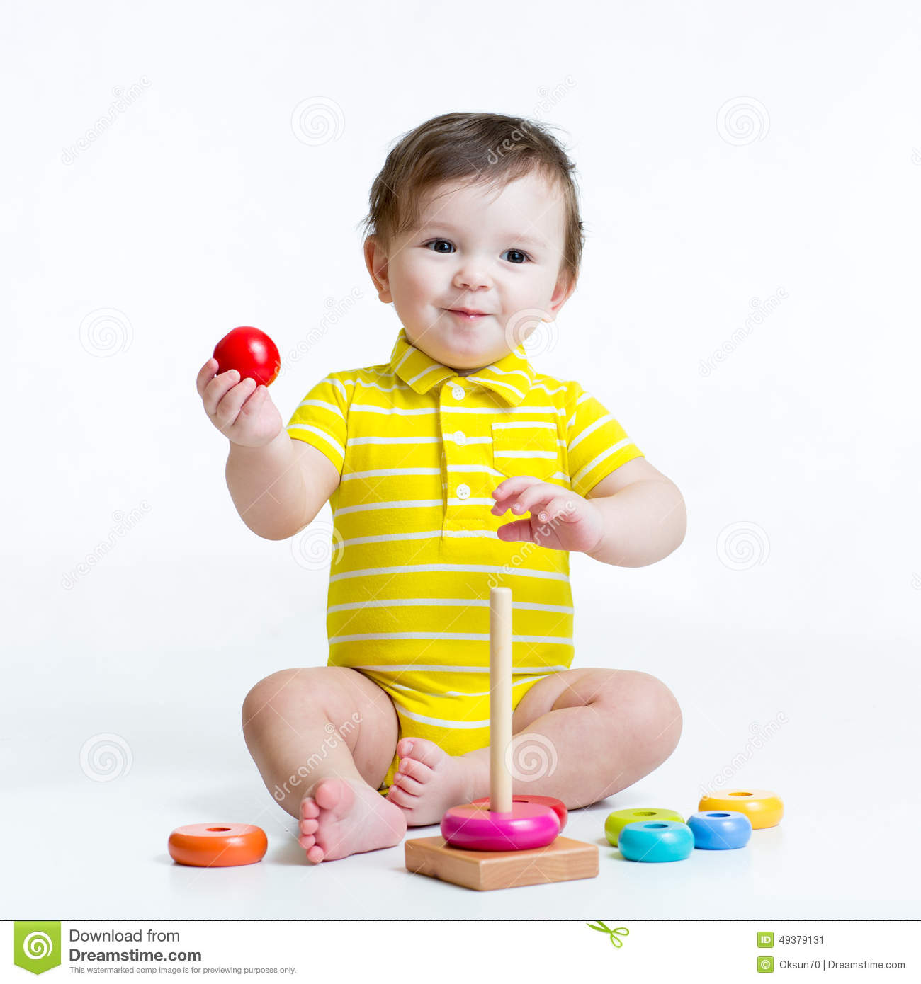 Baby Boy Playing With Pyramid Toy Stock Image Image Of Creativity