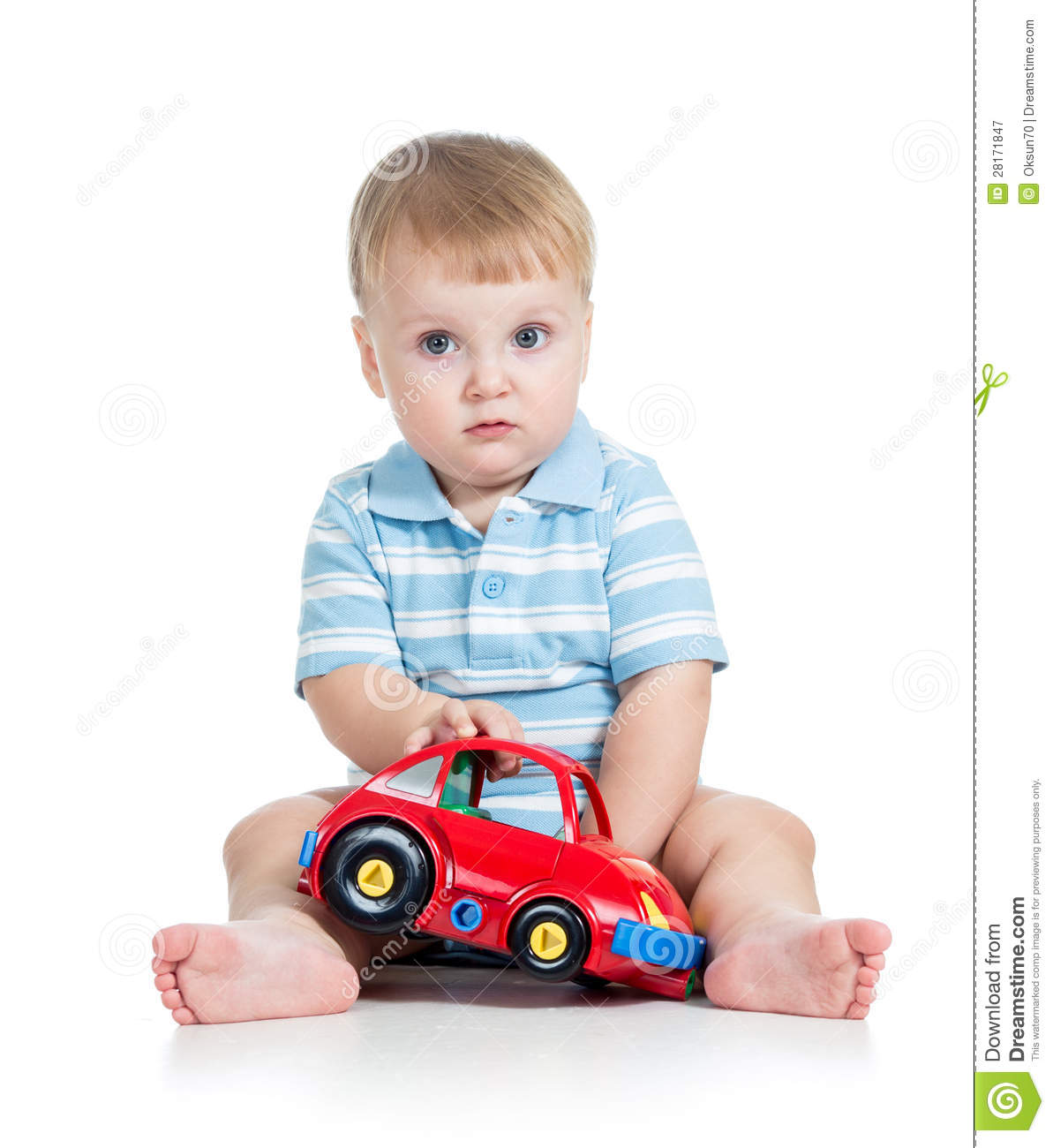 Boy Toddler Toys : Baby boy playing with toy car stock image
