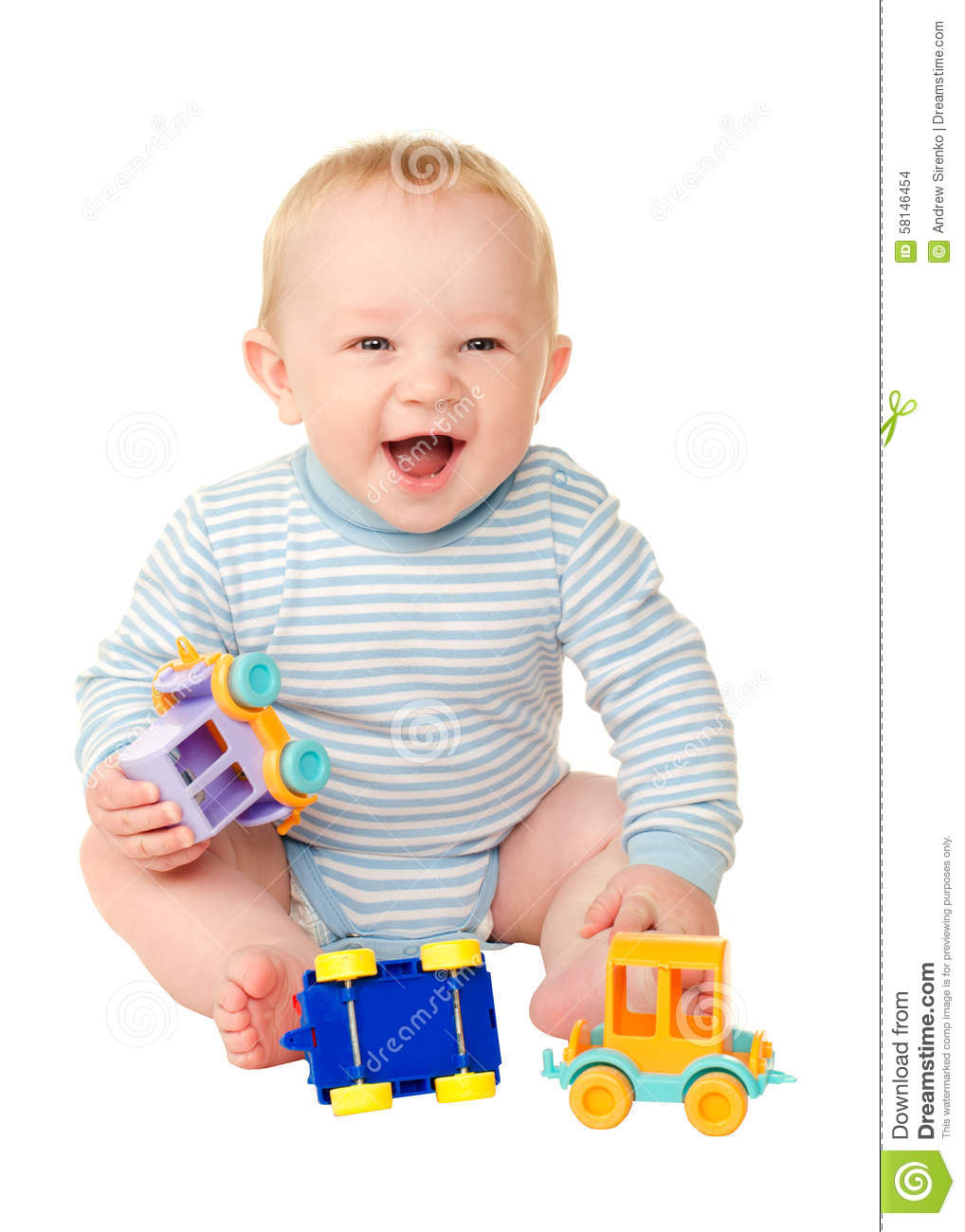 Boy Toys Background : Baby boy playing with toy cars stock photo image