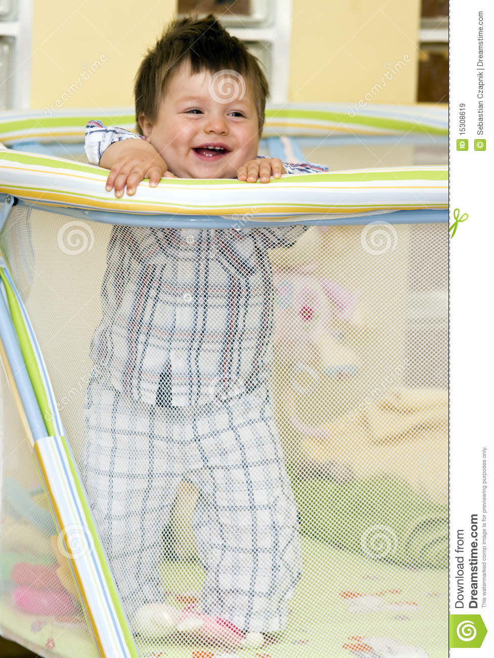 Baby Boy In Playpen Royalty Free Stock Images Image
