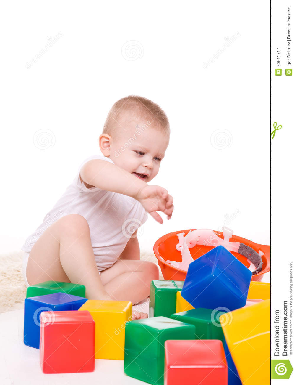 Boy Toys Background : Baby boy plays with toy blocks royalty free stock