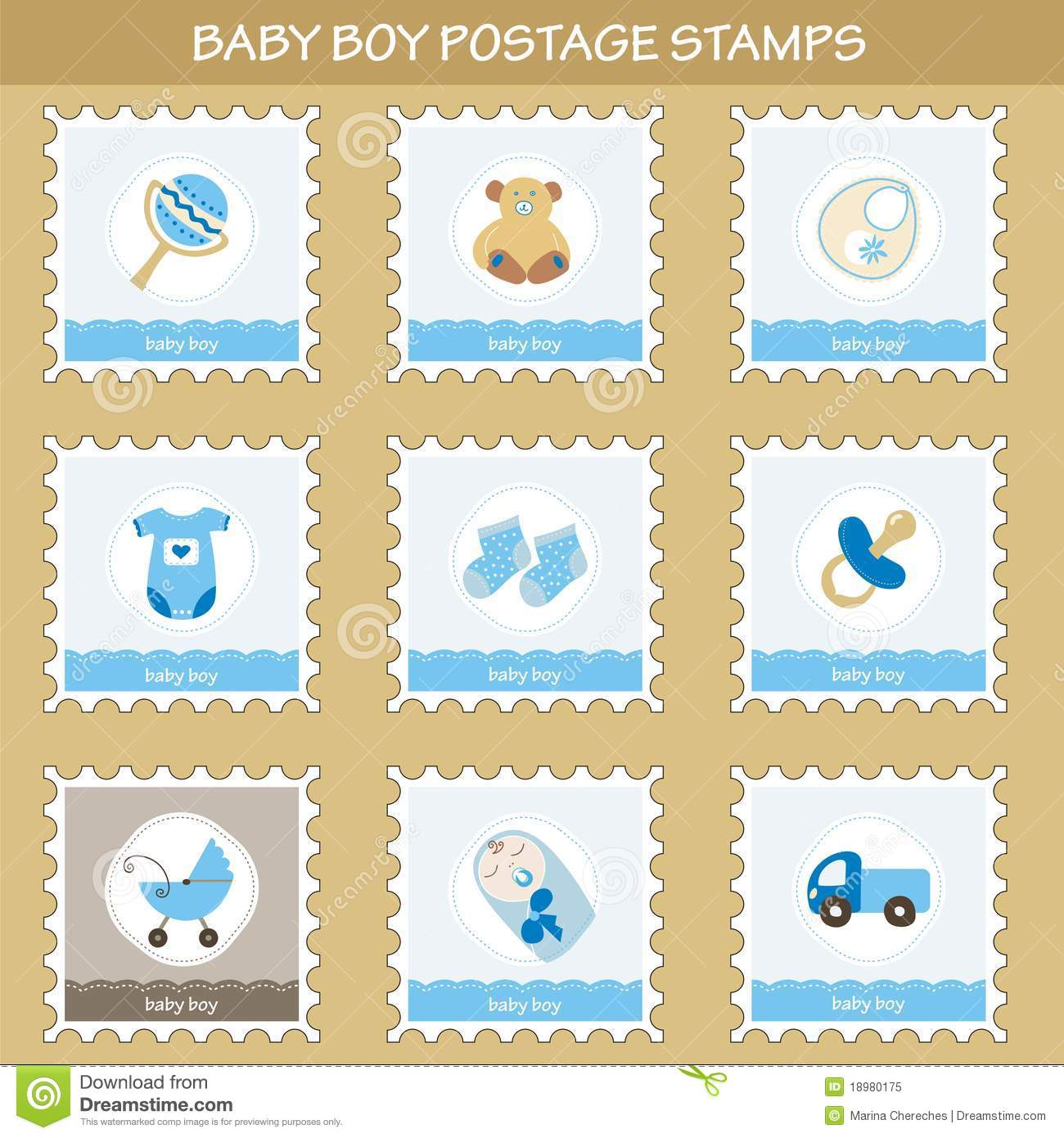 Baby Boy Postage Stamps Royalty Free Stock Photo Image