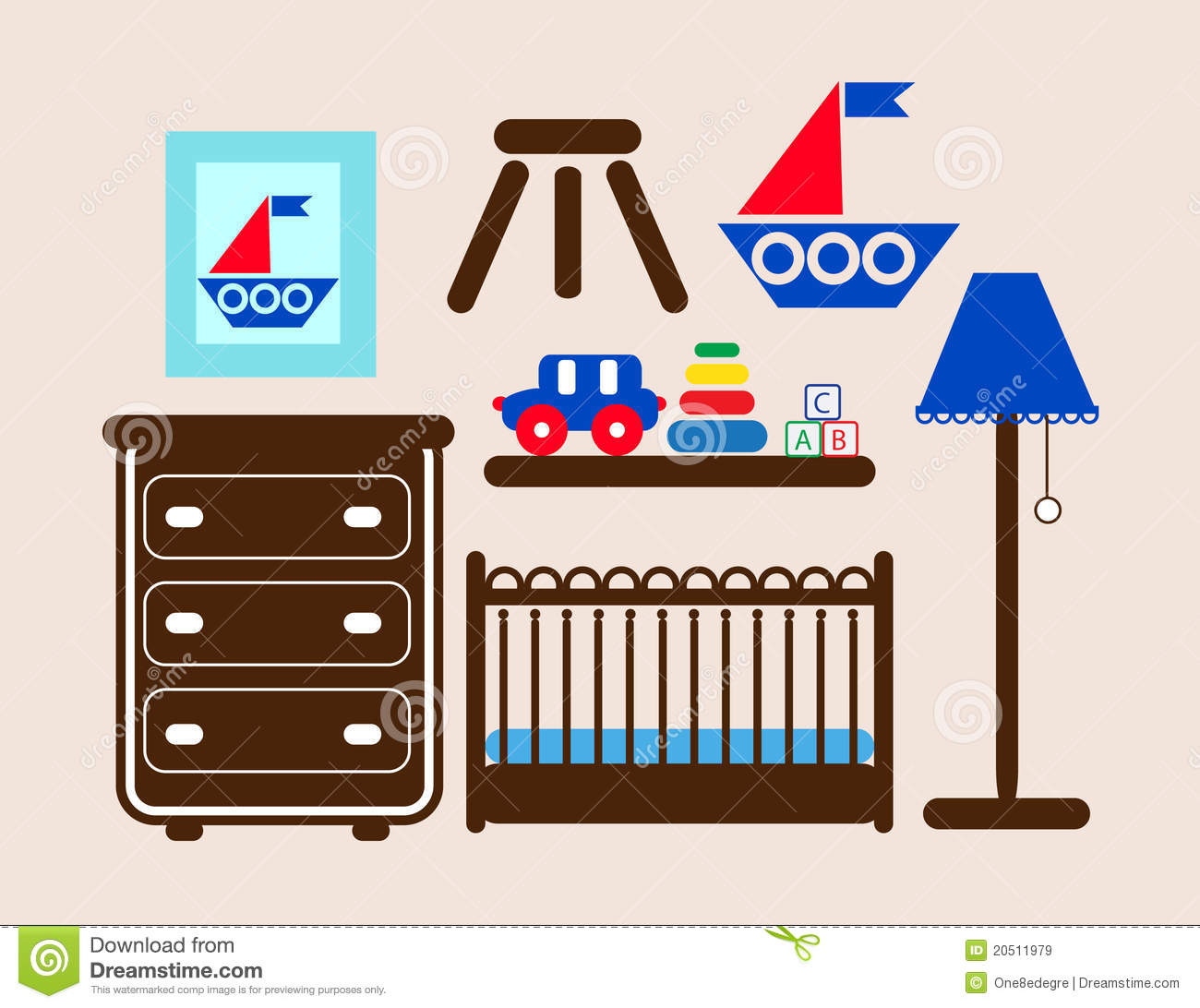 Baby Boy Room Furniture Stock Vector Illustration Of Room