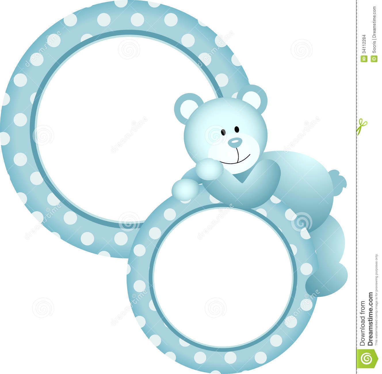 ... representing a baby boy round frame teddy bear, isolated on white