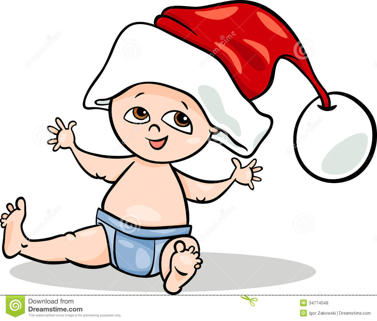 Baby boy santa cartoon illustration stock vector image