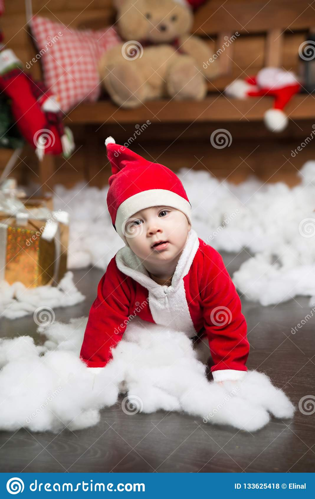 d7518f54042d Baby Boy In Santa Costume. Christmas. New Year Stock Photo - Image ...