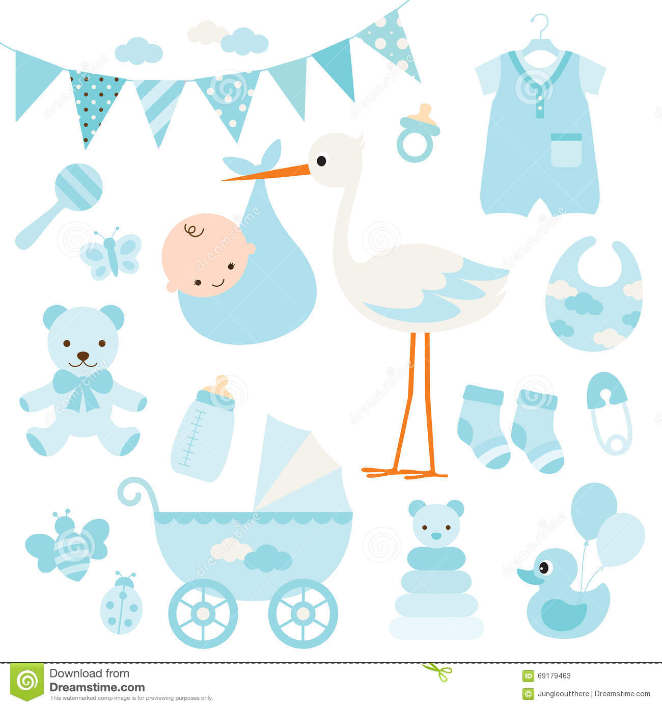 Baby Boy Shower And Baby Items Stock Vector - Illustration ...