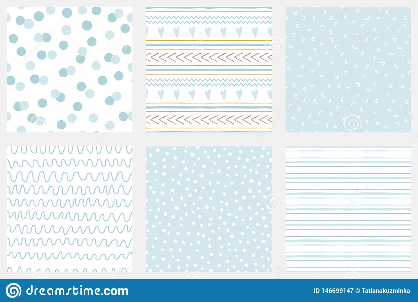 d0be7e3c8 Baby Boy Shower Blue Collection Hand Drawn Seamless Pattern Set Blue ...