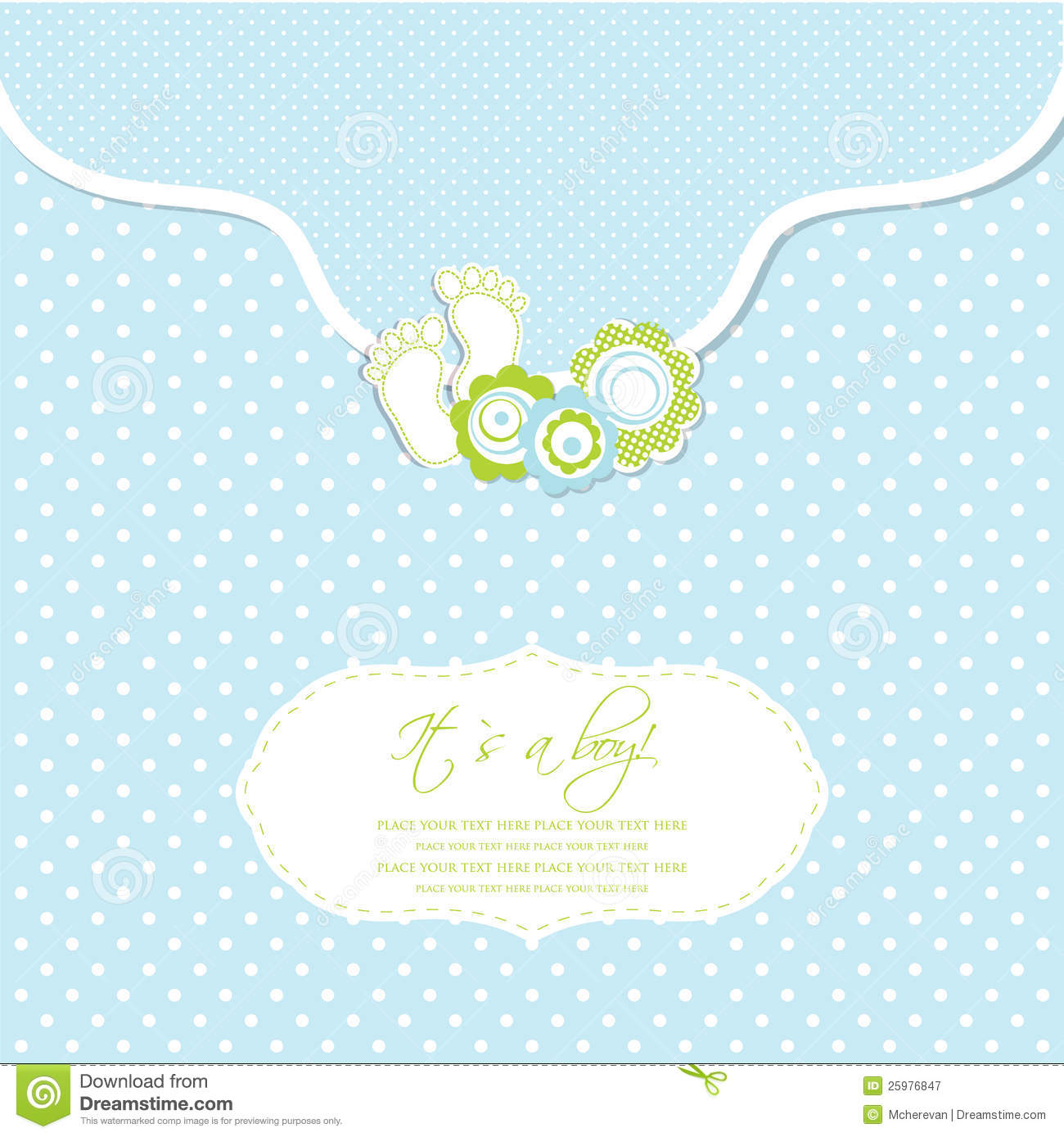 baby boy shower card with foot steps and frame