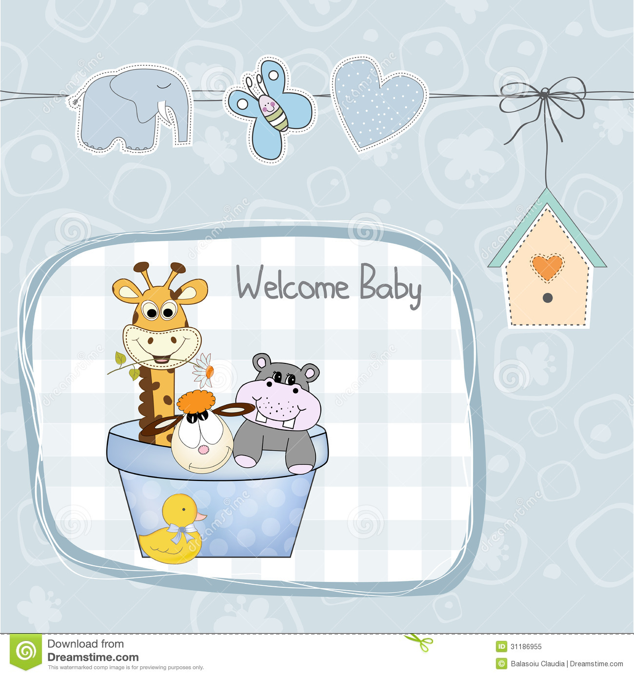 Amazing Baby Boy Shower Card With Toys Royalty Free Stock Photo