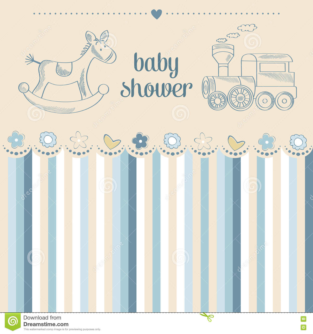 Baby Shower Card Vector ~ Baby boy shower card cartoon vector