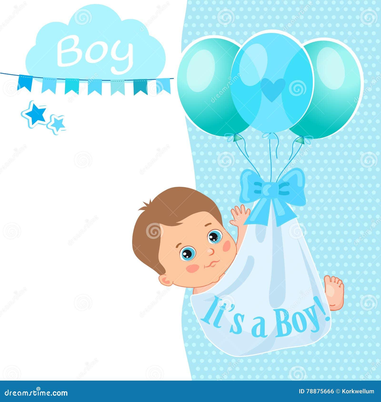 Baby Boy Shower Card Vector Illustration Baby Shower Invitation