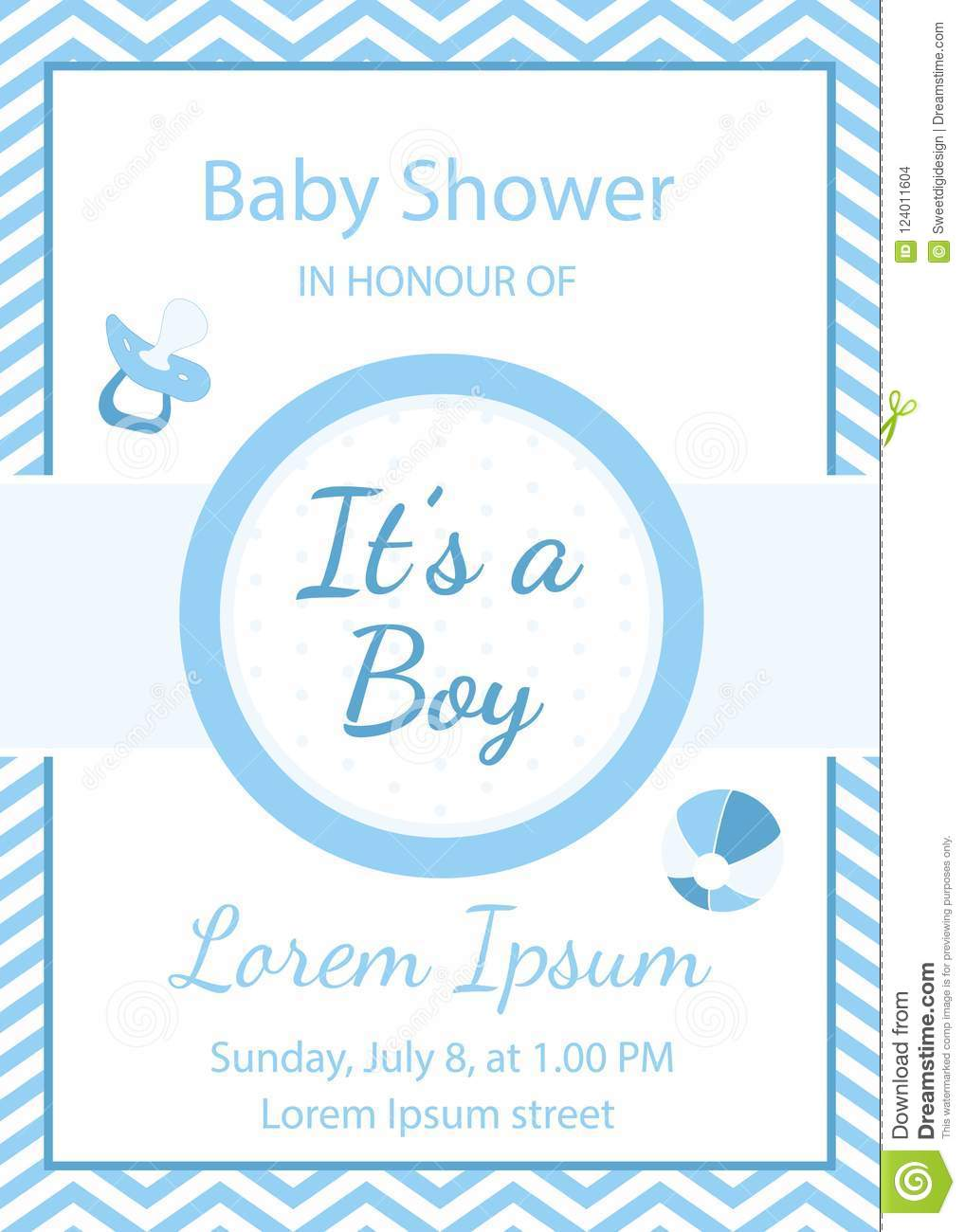 Baby Boy Shower Invitation It S A Boy Stock Vector