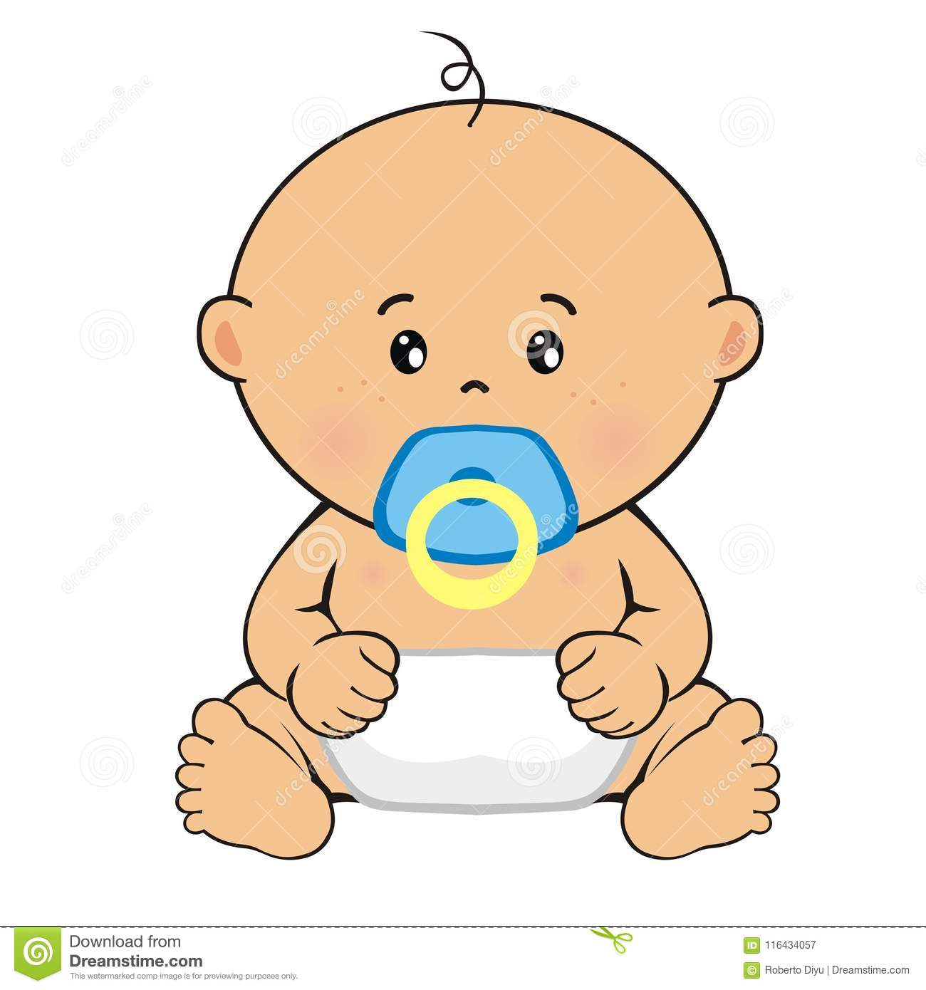 Baby Boy Sitting Child S Drawing Stock Vector Illustration Of
