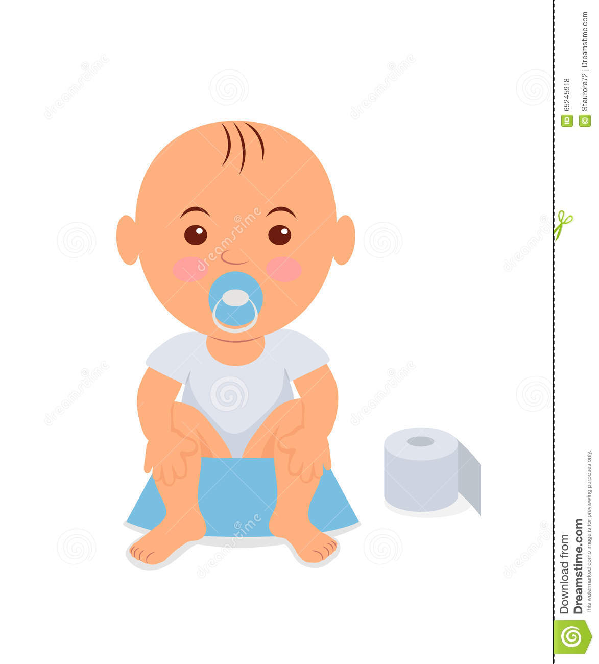 baby boy sitting on the potty learning to stock vector image 65245918