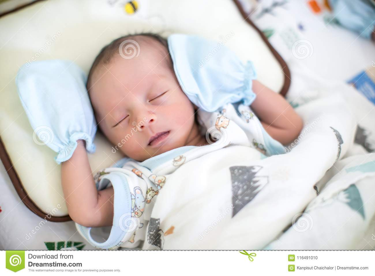Baby Boy Sleeping On The Bed Growth Hormone And Sleep In Infant Cute Baby Boy Asleep Beauty And Fashion Of Baby Stock Photo Image Of Comfortable Closeup 116491010