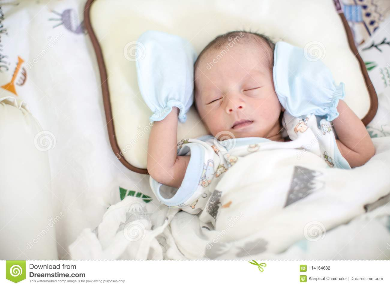 Baby Boy Sleeping On The Bed Growth Hormone And Sleep In Infant Cute Baby Boy Asleep Beauty And Fashion Of Baby Stock Photo Image Of Background Closeup 114164682