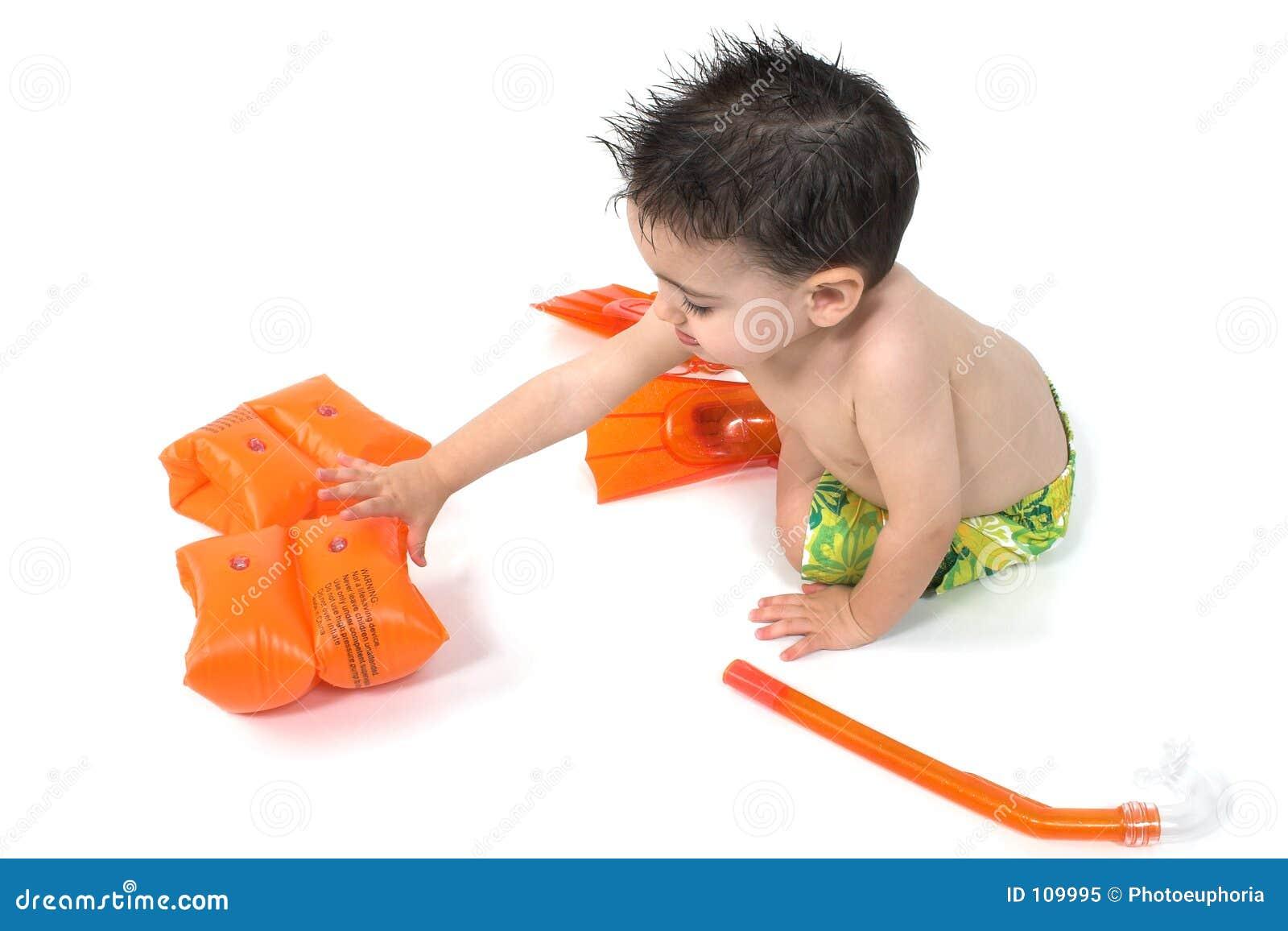 Baby Boy Snorkler Over White