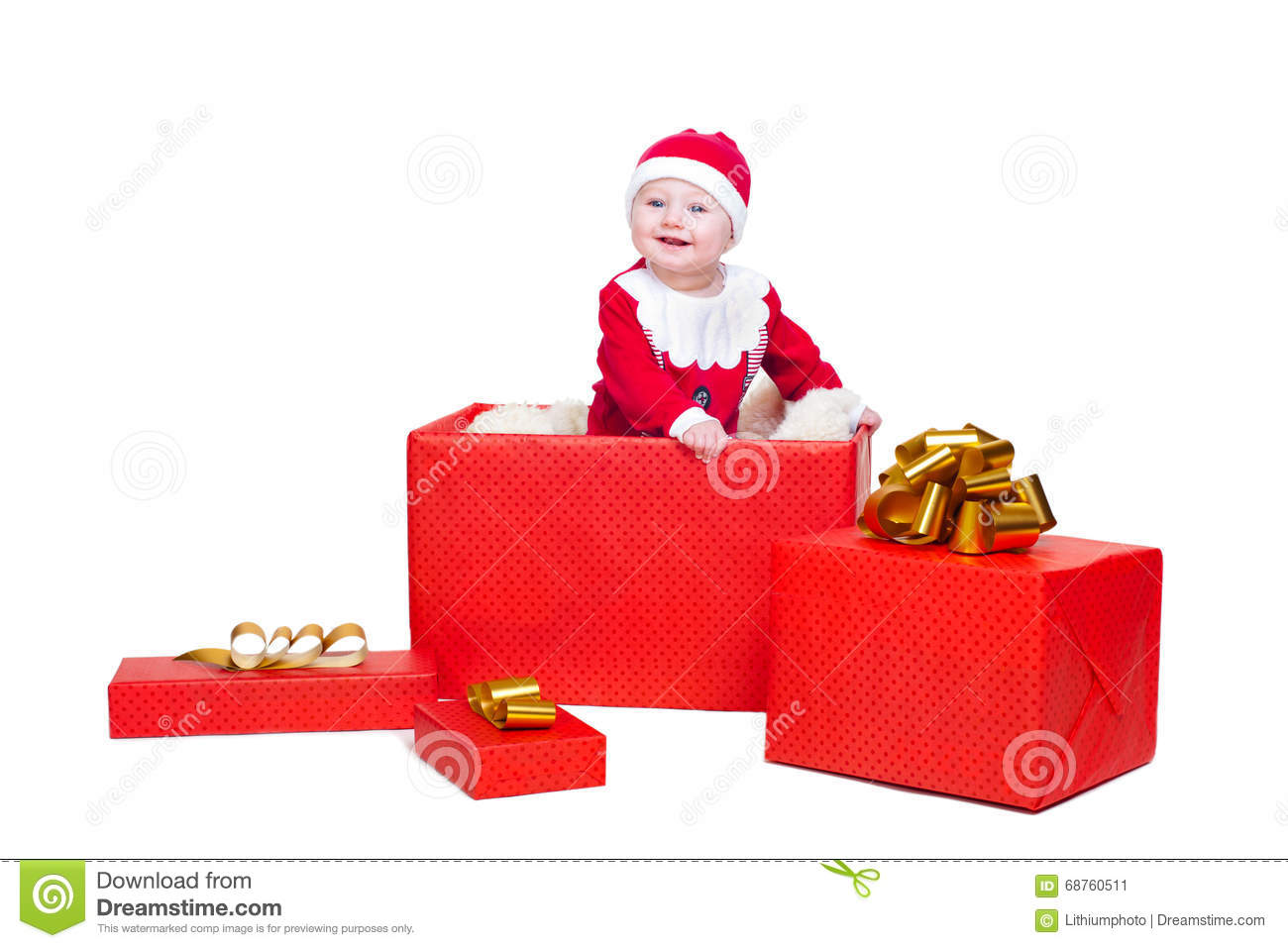 Baby Boy Standing In A Huge Christmas Gift Box Stock Image - Image ...