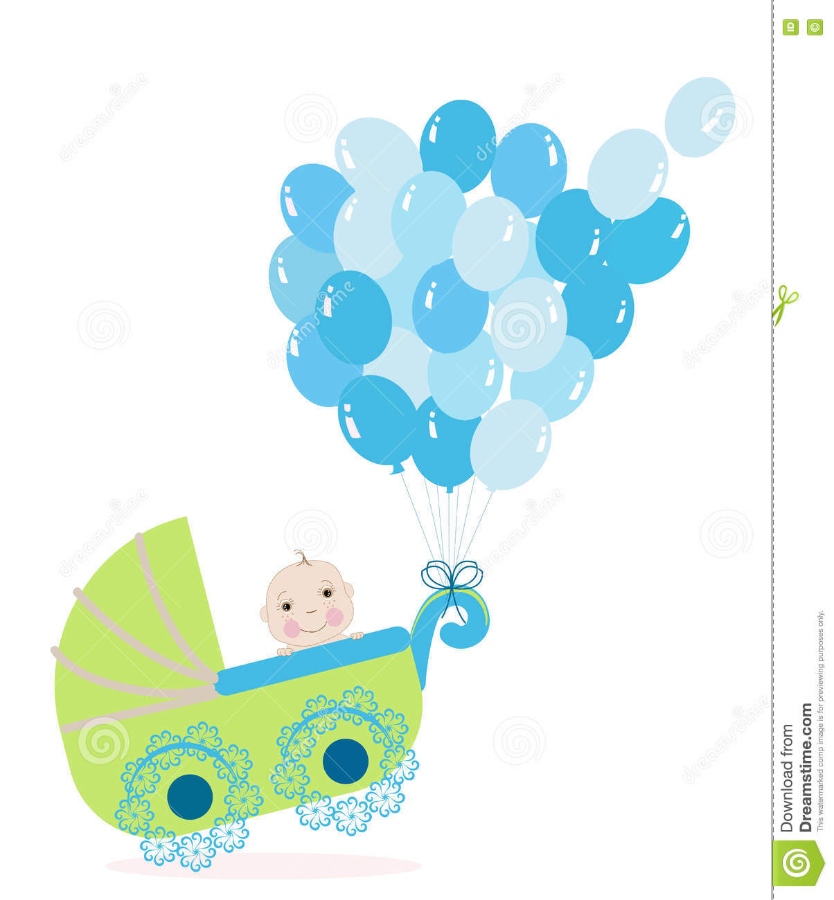 Baby boy stroller with balloon. Baby shower greeting card