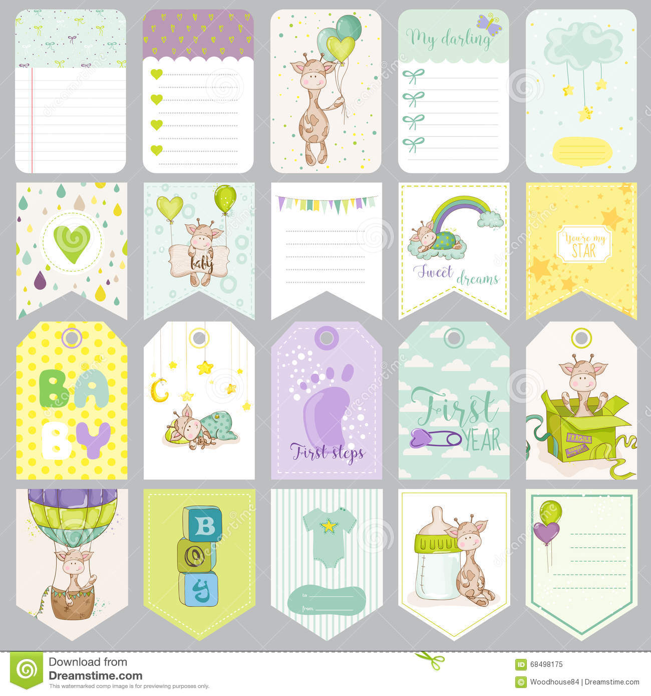Baby Boy Tags Baby Banners Scrapbook Labels Cute Cards Stock