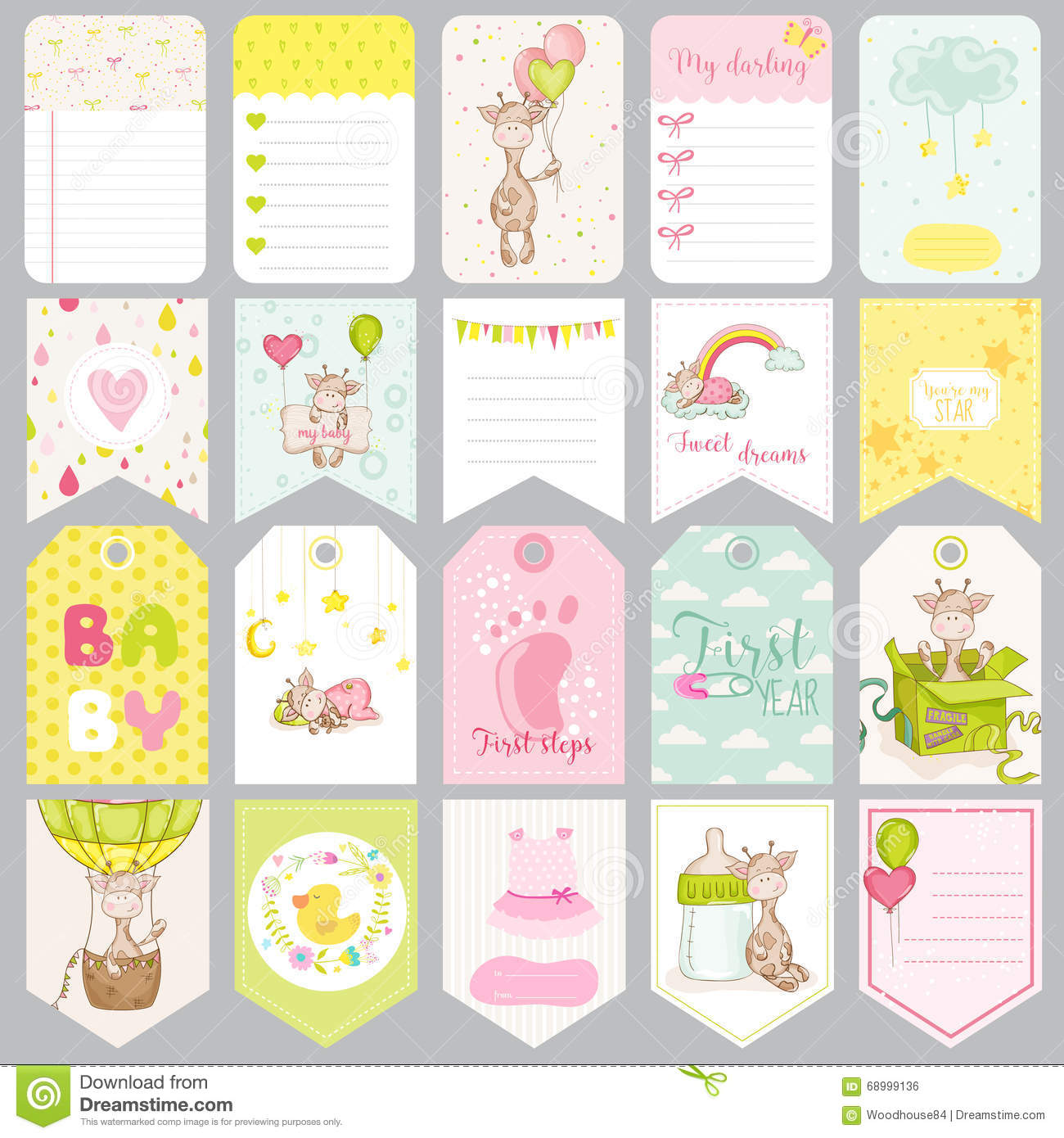 Baby Boy Tags Baby Banners Scrapbook Labels Stock Vector