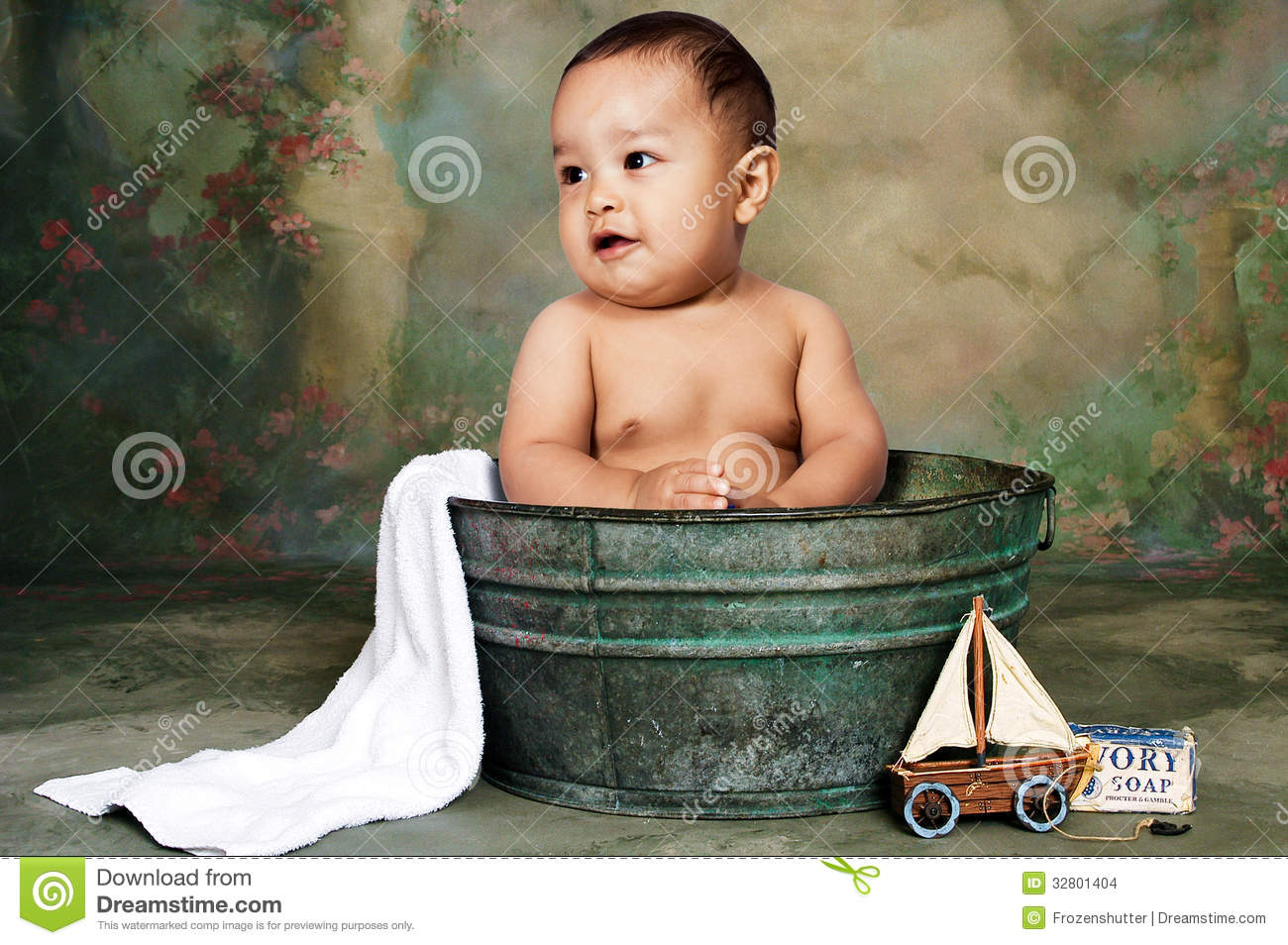 Baby Boy Taking A Bath In A Tub Stock Photo - Image of cool ...