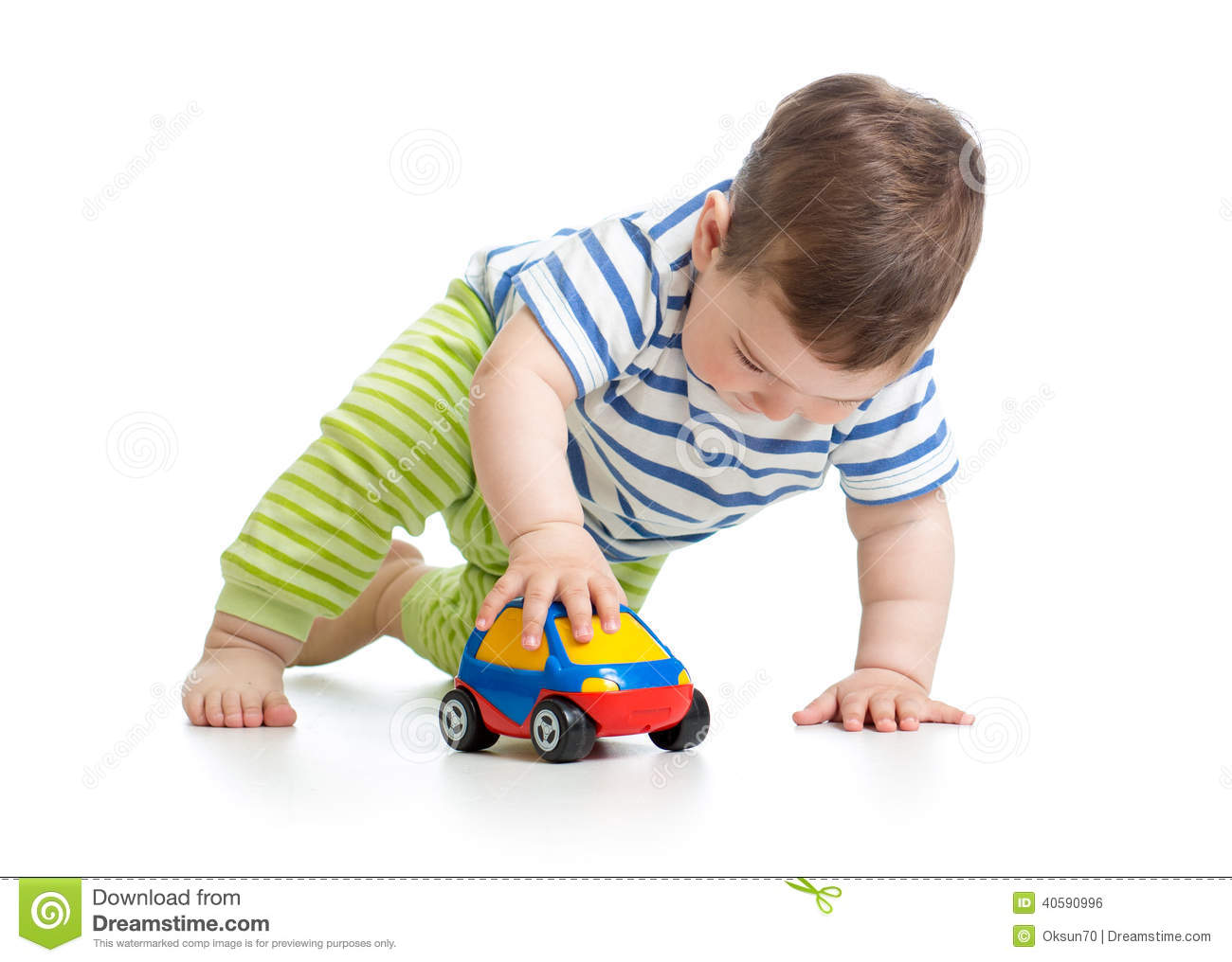 Baby Boy Toy Cars : Baby boy toddler playing with toy car stock photo image