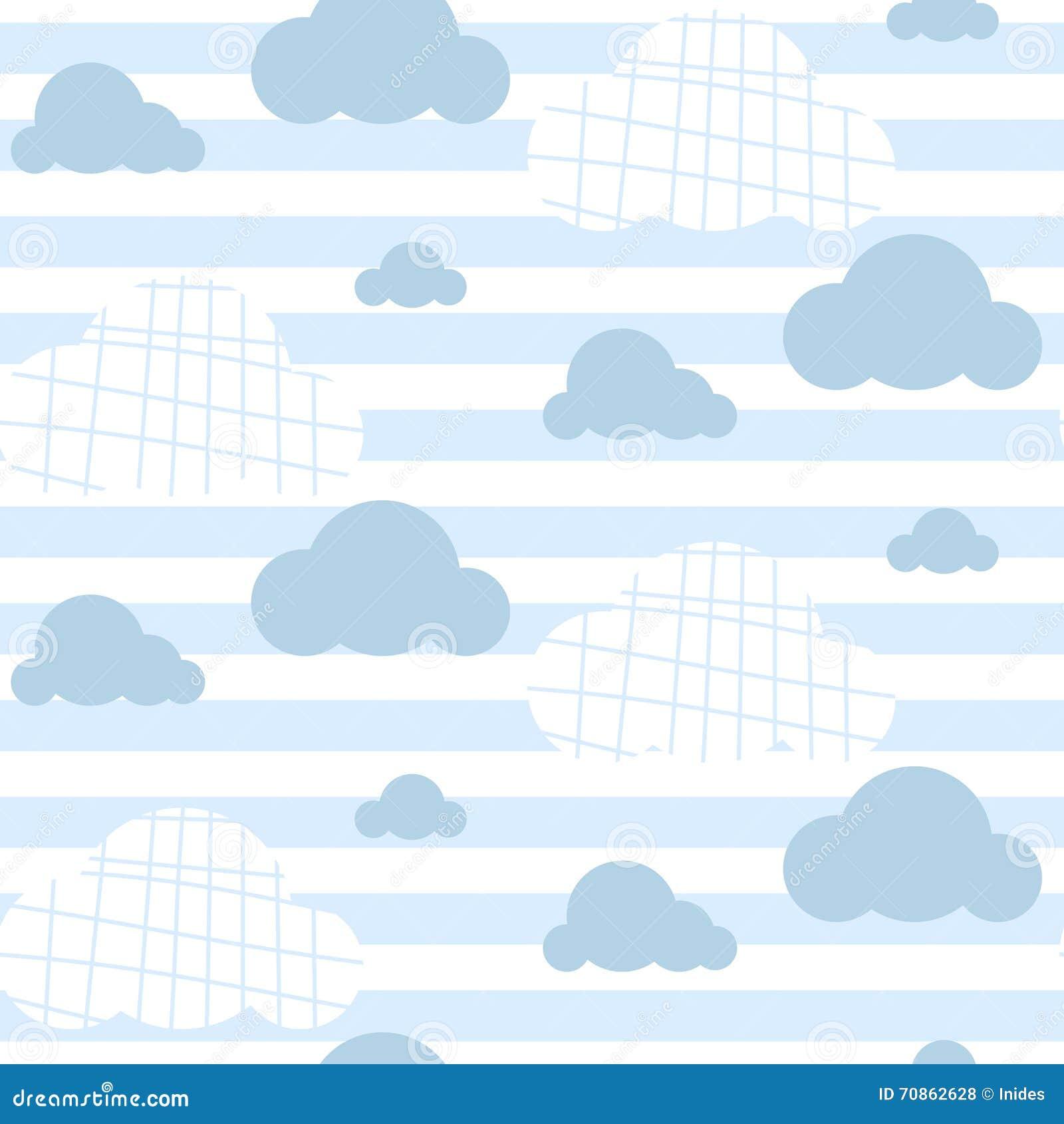 Baby Boy Vector Seamless Pattern Light Blue Fun Sky Print