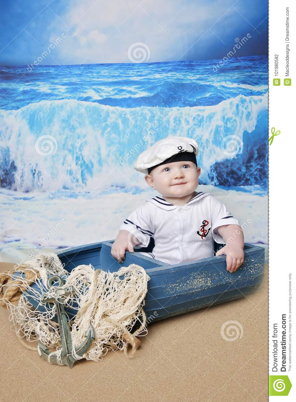 Little sailor boy in boat stock photo. Image of sail ...