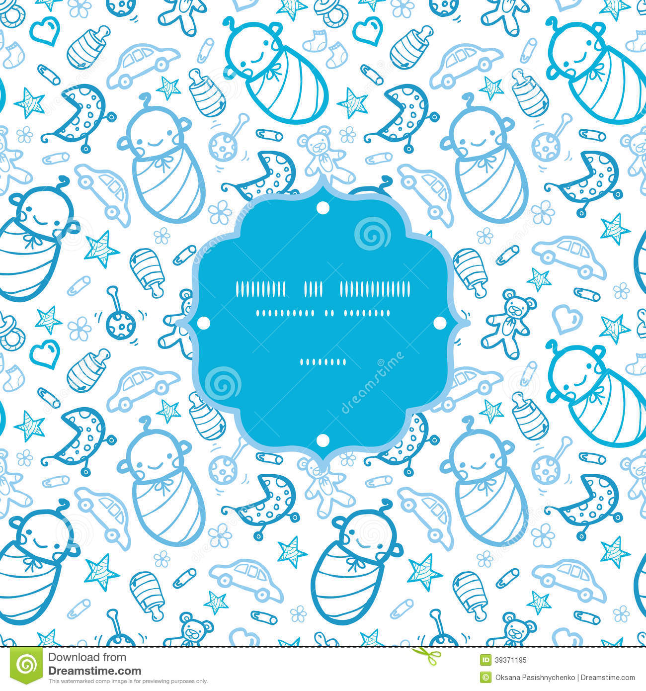 Baby Boys Frame Seamless Pattern Background Stock Vector