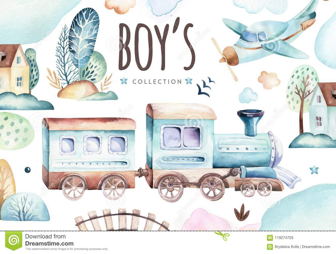 Baby boys world. Cartoon airplane and waggon locomotive watercolor illustration. Child birthday set of plane, and air