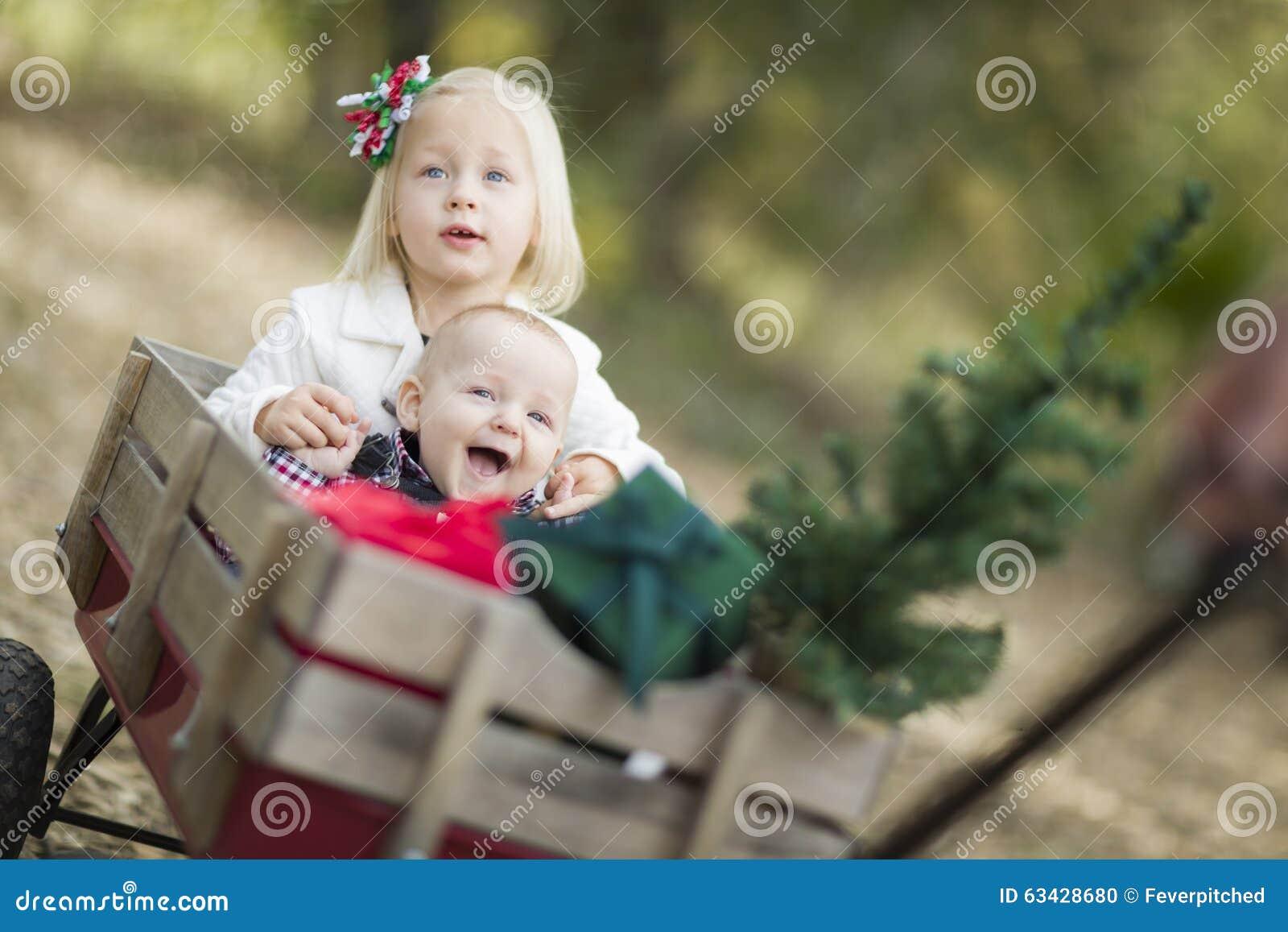 Baby-Bruder und Schwester Being Pulled im Lastwagen mit Weihnachtsbaum und  Geschenken draußen