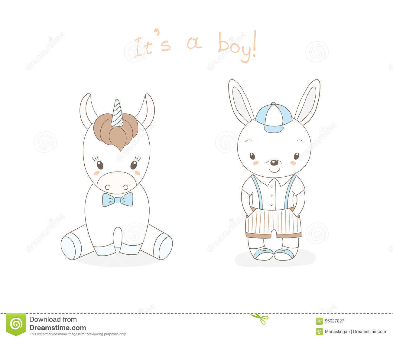 Baby Bunny Boy And Baby Unicorn Boy Stock Vector Illustration Of