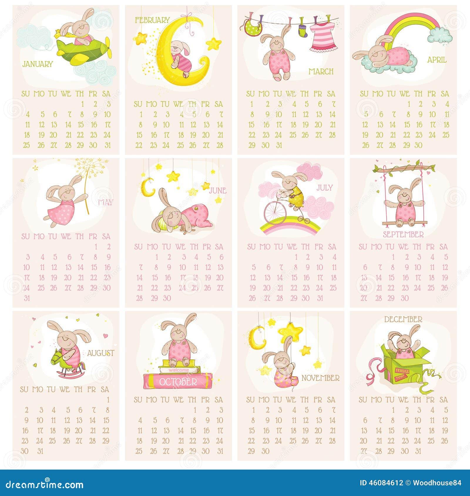 Calendar Design Baby : Baby bunny calendar stock vector image of