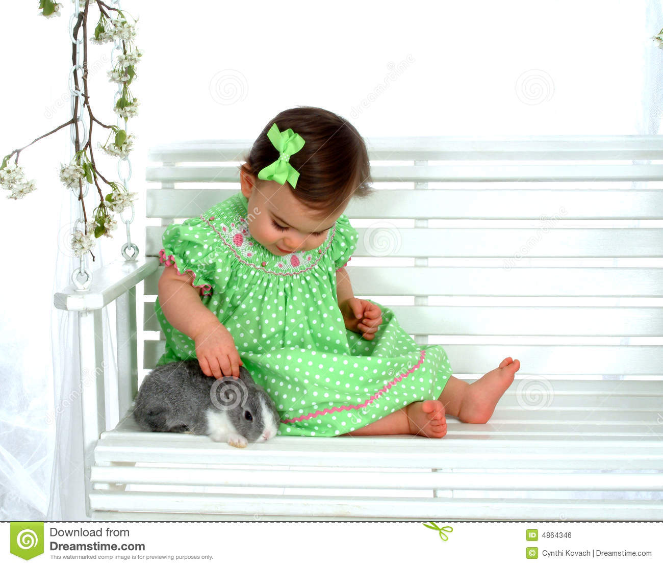 Baby and bunny on Swing