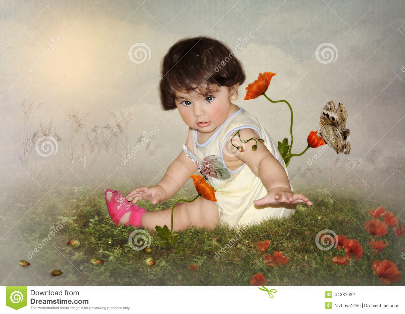 The baby and butterflies