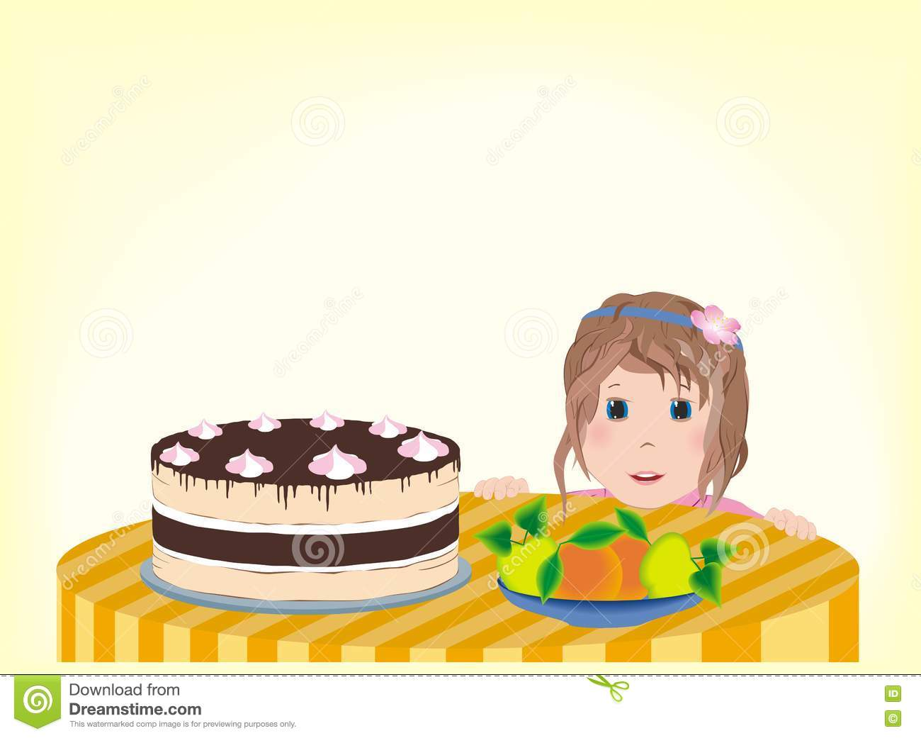 Little girl happily looks at the birthday cake on the table.