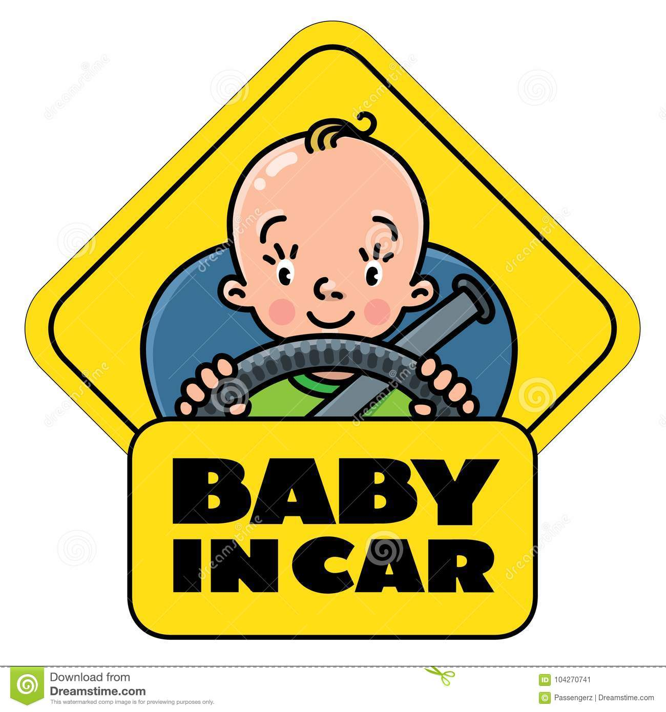 Baby in car back window sticker or sign