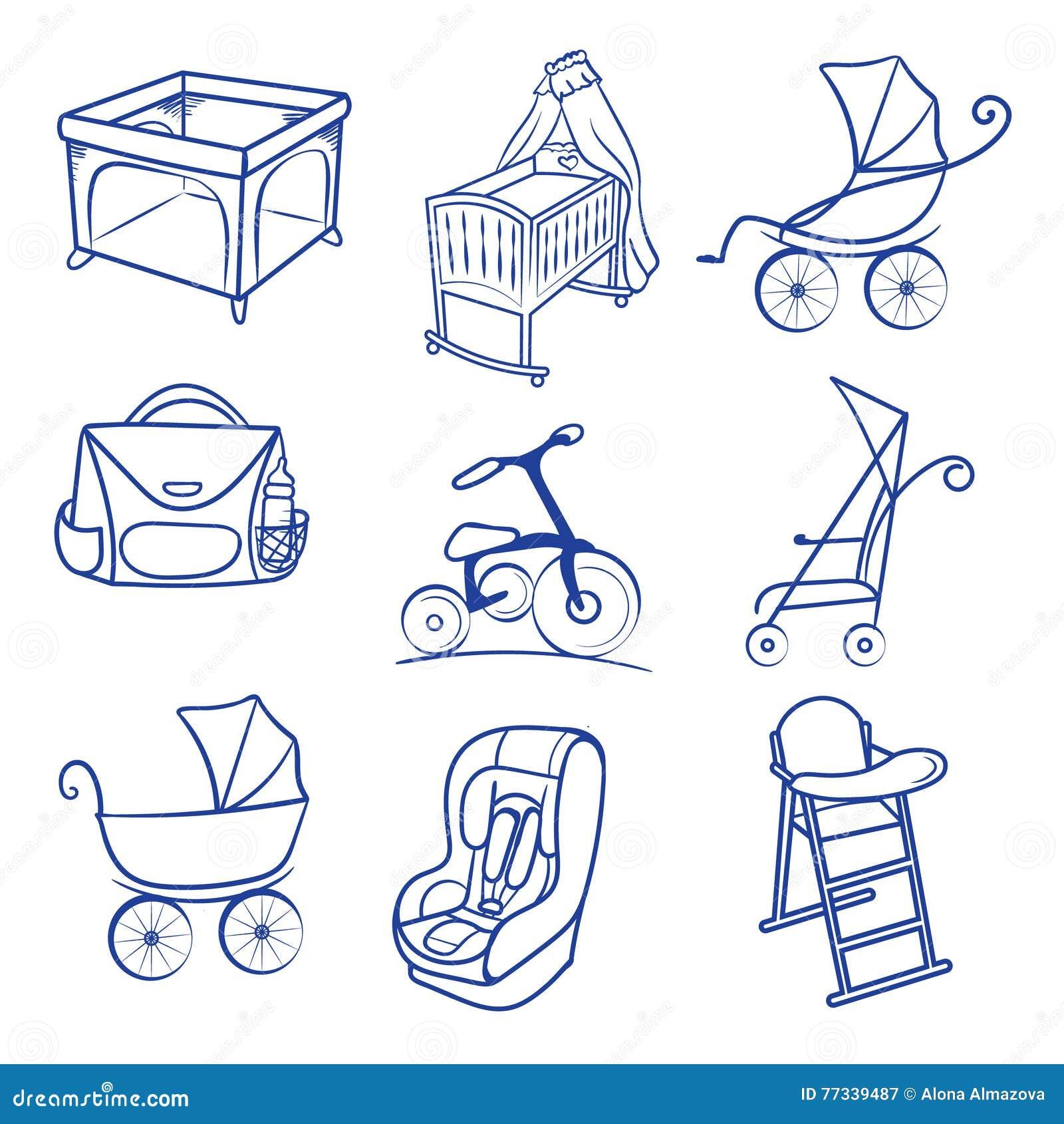 Baby Car Seat Pram Bag Cradle Carriage Playpen Icons