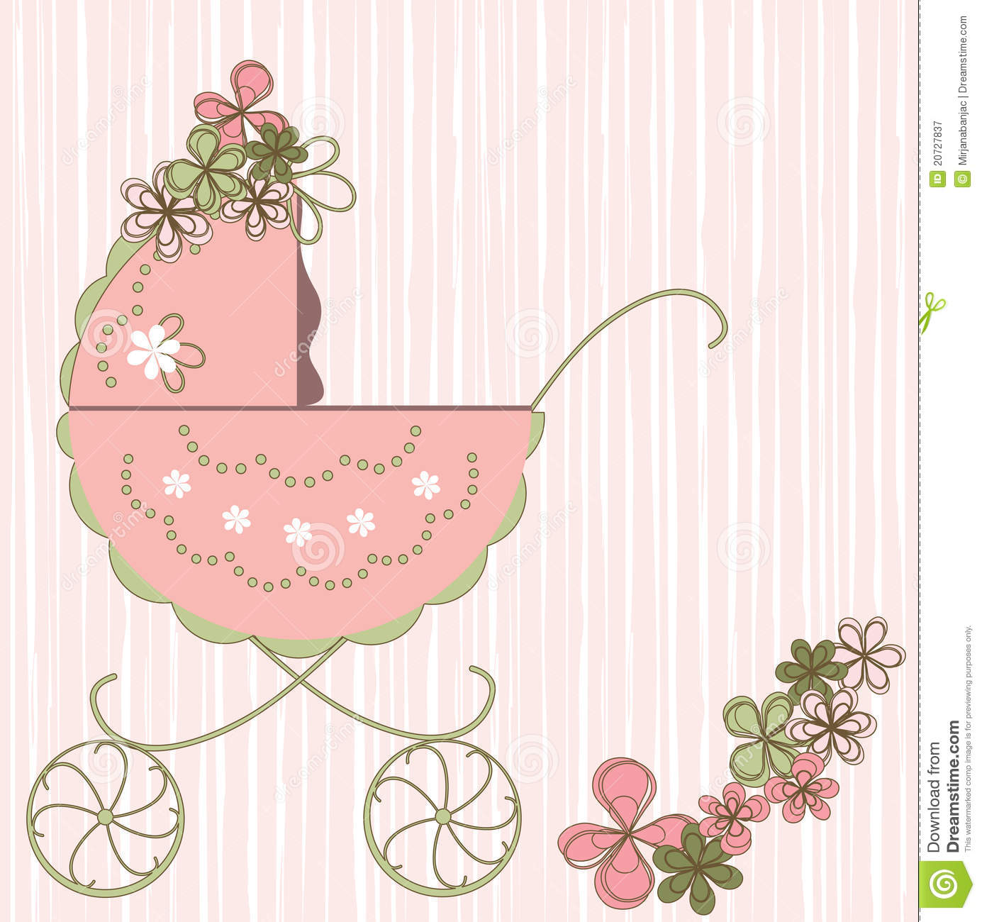 baby card stock vector  illustration of carriage  border