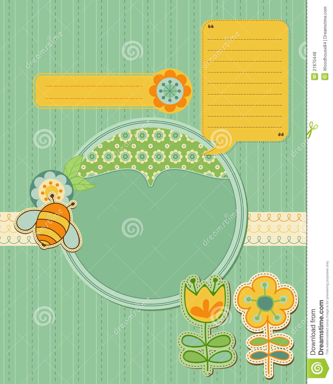 Baby Card with bee and flowers